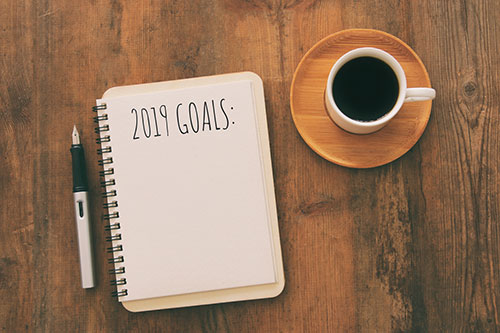 Notebook with list of 2018 goals