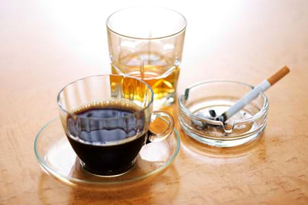 coffee, cigarettes and alcohol can all interfere with natural sleep patterns